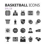 Grupo moderno simples de ícones do basquetebol Imagens de Stock