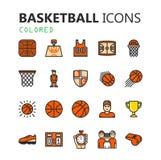 Grupo moderno simples de ícones do basquetebol Foto de Stock Royalty Free