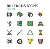 Grupo moderno simples de ícones dos bilhar Coleção superior Ilustração do vetor Fotos de Stock Royalty Free