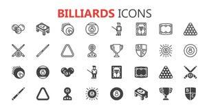 Grupo moderno simples de ícones dos bilhar Coleção superior Ilustração do vetor Foto de Stock Royalty Free