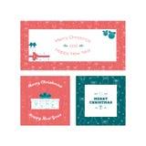 Grupo moldes do cartão do Natal liso do projeto e do ano novo Fotos de Stock Royalty Free