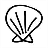 Grupo monocromático bonito do motivo da ilustração dos desenhos animados do escudo dos moluscos Elementos isolados tirados m?o da ilustração royalty free