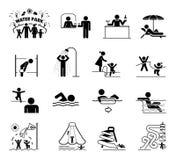 Grupo muito útil e útil de ícones para parques e natação do aqua Imagens de Stock Royalty Free