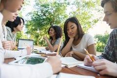 Grupo multiétnico de estudiantes jovenes que se sientan y que estudian Foto de archivo libre de regalías