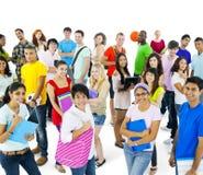 Grupo multiétnico de gente joven en estilo sport Fotos de archivo