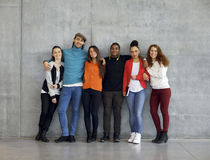 Grupo multi-étnico de estudantes universitário novas felizes no terreno Fotos de Stock Royalty Free