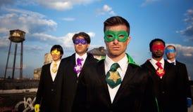 grupo Multi-étnico de hombres de negocios del super héroe Fotos de archivo libres de regalías