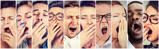 Grupo multi-étnico de vista de bocejo dos homens sonolentos das mulheres dos povos furado Fotografia de Stock Royalty Free