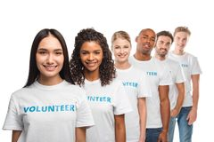 Grupo multi-étnico de voluntários foto de stock