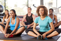 grupo Multi-étnico que estira en un gimnasio Imágenes de archivo libres de regalías