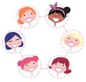 Grupo multicultural da rede das mulheres ilustração do vetor