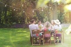 Grupo multicultural de amigos que comem o almoço no jardim em um s fotos de stock royalty free