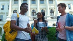 Grupo multicultural de estudiantes universitarios almacen de video