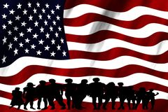 Grupo multicultural de la bandera de Estados Unidos de diversidad de la integración de la gente joven aislado fotos de archivo libres de regalías