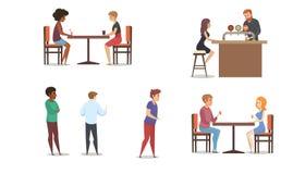 Grupo multinacional do vetor dos clientes do restaurante ou da barra ilustração stock