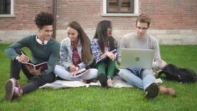 Grupo multirracial de amigos que estudian junto en campus metrajes