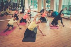 Grupo multirracial durante clase de aeróbicos en un gimnasio Imagen de archivo
