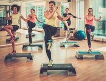 Grupo multirracial durante clase de aeróbicos en un gimnasio fotografía de archivo