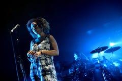 Grupo musical inglês do ataque maciço no concerto no festival da sonar Foto de Stock