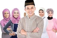 Grupo musulmán del varón y de la mujer fotografía de archivo libre de regalías