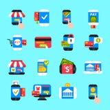 Grupo móvel do vetor dos ícones dos pagamentos Imagem de Stock Royalty Free