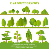Grupo na moda de árvores diferentes, de arbustos, de grama e de outros objetos naturais ilustração royalty free