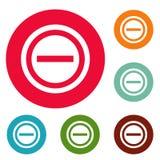 Grupo negativo do círculo dos ícones Imagem de Stock