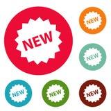 Grupo novo do círculo dos ícones do sinal Foto de Stock