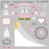 Grupo nupcial da decoração do chuveiro do casamento Jogo do cartão do convite da noiva ilustração royalty free