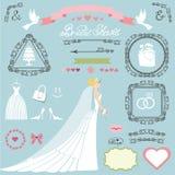 Grupo nupcial da decoração do chuveiro do casamento Noiva, redemoinhos, ícones, fitas ilustração royalty free