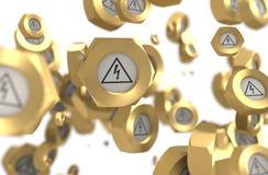 Grupo Nuts de la levitación con el icono de alto voltaje del peligro ilustración del vector