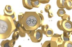 Grupo Nuts de la levitación con el icono de la bicicleta ilustración del vector
