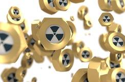 Grupo Nuts de la levitación con el icono nuclear del peligro ilustración del vector