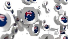 Grupo Nuts de la levitación con la bandera de la Australia ilustración del vector