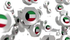 Grupo Nuts de la levitación con la bandera del Kuwait stock de ilustración
