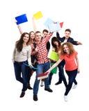 Grupo ocasional de amigos entusiasmado isolados Imagens de Stock