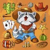 Grupo ocidental selvagem ocidental das etiquetas da arte Arma, balas, cactos e muitos outros artigos ilustração royalty free