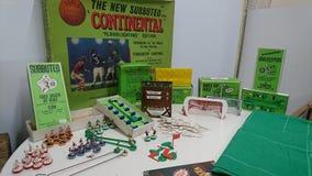 Grupo original completo do jogo de futebol da tabela de Subbuteo do vintage foto de stock royalty free
