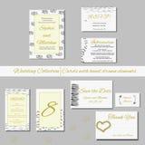 Grupo original de cartões do convite do casamento com elementos tirados mão Fotografia de Stock
