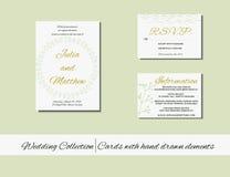 Grupo original de cartões do convite do casamento com elementos tirados mão Imagens de Stock Royalty Free