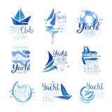 Grupo original do projeto do logotipo do yacht club desde 1969, logotipo da empresa dos elementos, vetor azul da aquarela da iden ilustração royalty free