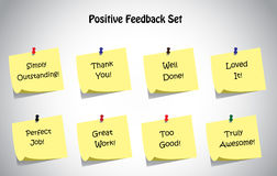 Grupo original simples da coleção das notas de post-it do texto da reação positiva Foto de Stock