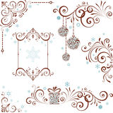 Grupo ornamentado do redemoinho do Natal Imagens de Stock Royalty Free