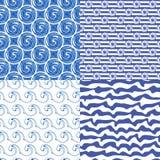 Grupo ou testes padrões sem emenda azuis Ilustração Stock