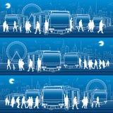 Grupo panorâmico do transporte Os passageiros entram e retiram ao ônibus Povos na estação Infraestrutura de transporte da cidade  ilustração royalty free