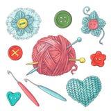 Grupo para a bola feito a mão do fio e dos acessórios para fazer crochê e fazer malha ilustração stock