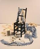 Grupo para o bordado - costura da linha do algodão, carretel, laço Imagens de Stock Royalty Free