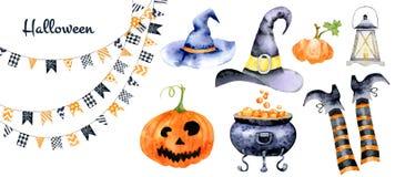 Grupo para o Dia das Bruxas com imagens da aquarela de atributos do feriado Foto de Stock