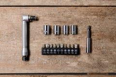 Grupo pequeno de chave inglesa da catraca da chave e de bloco ajustados dos soquetes do quadrado Fotografia de Stock Royalty Free