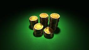 Grupo pequeno de microplaquetas de póquer do ouro Fotos de Stock